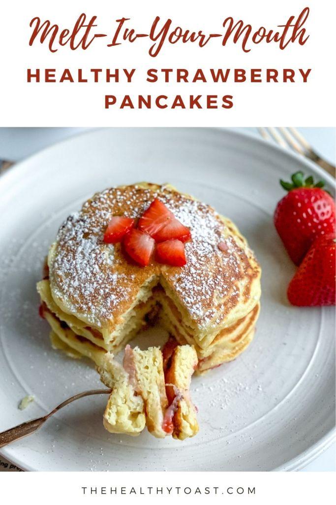 Healthy strawberry pancake recipe pinterest image