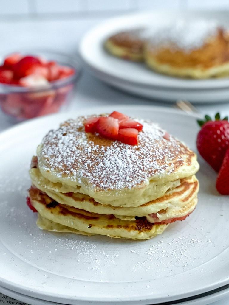 stack of healthy greek yogurt pancakes
