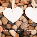 Two white hearts with Watermark