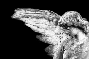 Angel with black background