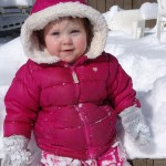 Winter girl in snowsuit