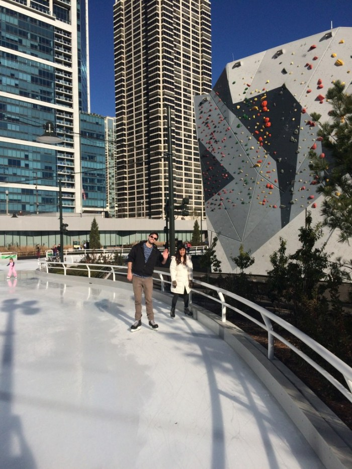 Ice skating at Maggie Daley park.