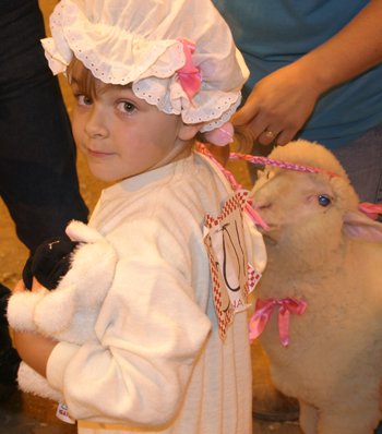 Aurora Ewalt of Rangely participated in the sheep lead contest at the fair.