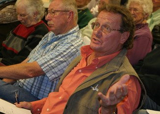 Meeker resident Brian Conrado, who lives across from the elementary school, voiced his concerns about a proposed justice center being built on the site, at Tuesday's public meeting.