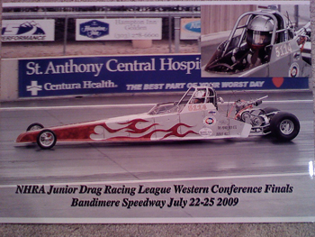 Marlena Miller of Rangely participated in the Western Conference Finals in Denver, a junior dragster event only.