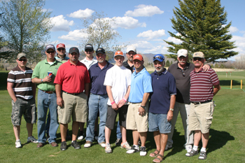 Winners in the first and second flights of last Sunday's two-man scramble at Meeker Golf Course. Golfers played 27 holes.