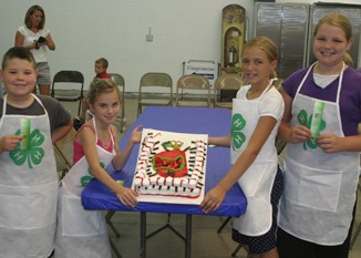 People's choice in cake decorating from left: Jared Henderson, Kirsten Brown, Avery Watt and Julia Keeler.