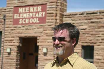 Principal Jason Hightower stood outside Meeker Elementary School on the last day of school May 27. The 71-year-old building has been vacated and a new grade school will open next month.