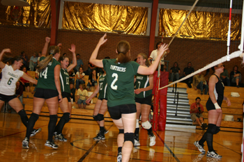 Rangely players celebrated during last week's match against Meeker. The Lady Panthers are 4-1 on the season.