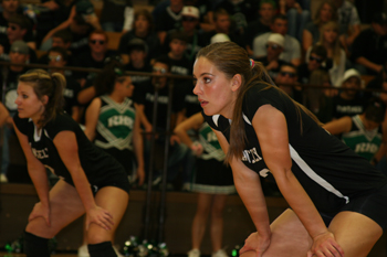 JEFF BURKHEAD Rangely's Kelsey Harvey, left, and Victoria Phelan waited for a serve during Friday's homecoming match against rival Meeker. The Lady Panthers won both of their matches last weekend to improve to 15-1.