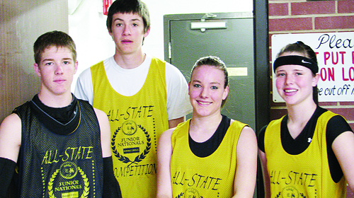 Trey Morris (Meeker), Caleb Templeton (Rangely), Kaylyn Edwards (Meeker) and Brittany Babineaux (Rangely) were invited to play in the USA Junior Nationals All-State High School Basketball Competition, held last weekend in Denver.