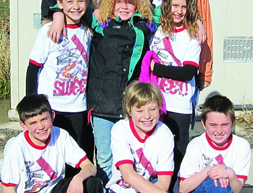 The Destination Imagination team of Six Brains are Better Than One, finished second at the state competition and will now represent Meeker Elementary School at the International Global Finals, in Knoxville, Tenn. The team is coached by the brother and sister team of Travis Day and Marnell Bradfield. Middle row: Gracie Bradfield, Kenzie Turner and Lila Klinglesmith. Front row: Kale Burke, Charlie Day and Pake Burke. Courtesy Photo