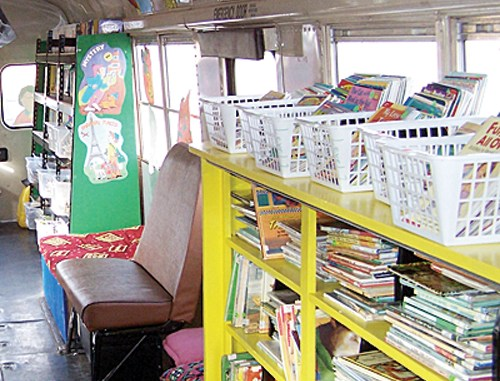 """""""If you are given lemons, make lemonade,"""" says Meeker Elementary School librarian Kay Bivens. Bivens did just that, with her students in three different buildings, she had a retired school bus converted to a bookmobile, which can transport more than 4,000 books to its weekly rounds to the middle school, administration building and high school."""