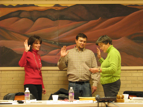 One of final duties for outgoing school board president Mary Strang, was to swear in recently elected board members Mindy Burke and Kurt Blunt. Marnell Bradfield, who earned the most votes in the Nov. 1 election was out of town and unable to attend. After taking an oath, discussion quickly started regarding repairs to the elementary school. A special meeting was set for Nov. 29 at 7 p.m., for CTL Thompson will present a report on the most recent soils consolidation tests, before repairs proceed.