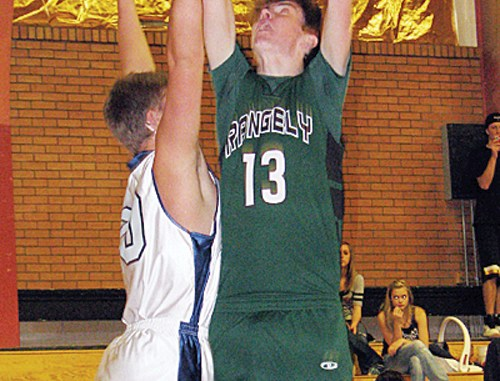 Rangely sophomore Cameron Enterline was the only basketball player from Rio Blanco County to compete in the slam dunk contest in the WREA Cowboy Shootout.
