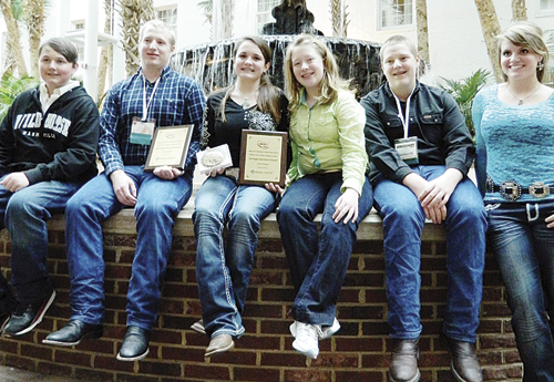Members of the Rio Blanco 4-H Livestock Judging Team represented Rio Blanco County recently in Nashville at the NCBA convention. (Left to right) Sam Baylie, Landon Mecham, Madison Shults, Kaylee Mecham, Layne Mecham and Maclaine Shults.