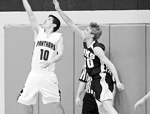 Rangely sophomore Connor Phelan goes up for a reverse layup against Vail Mountain last week in a home victory and led all scorers with 17 points. Phelan and the Panthers will play in DeBeque Friday and host Plateau Valley Saturday.