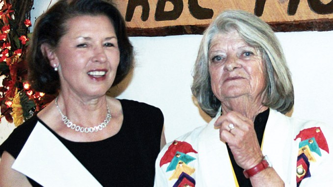 """Mary Ann Wilber and Connie Theos served as co-presidents of the centennial celebration of the """"Old Timers"""" Reunion Dinner and Dance held last weekend at the Freeman Fairfield Community Center."""