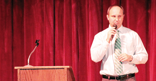 Meeker High School's new principal Jeremy Voytko addressed students on the first day of school and is one of several new faces in the Meeker School District.