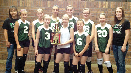 Both the seventh- and eighth-grade volleyball teams from Rangely Middle School returned from the season-ending league tournament last weekend in Steamboat Springs with the championship team trophies. Pictured with the eighth-grade championship trophy are in front Corinne Coombs, Katelyn Brown, Casey Meeks and Sydney Shaffer. Back row manager Ciara Wilson, Divinity Saunders, Katye Allred, coach Kari Enke, Lndsey Thacker, Antoinette Dorris and manager Braylee Cassavaugh.