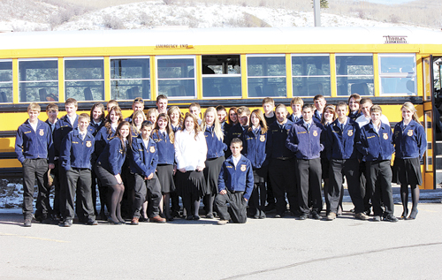 The Meeker FFA Chapter, represented by 36 members, traveled to Oak Creek for the district leadership conference and annual district speaking contests. Freshman Madison Shults won the annual creed speaking contest. Shults will now represent District 1 at the state FFA creed speaking contest held in conjunction with the 2013 Colorado State FFA Convention in Sterling in June 2013.