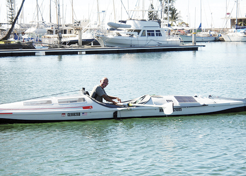 Rory Wilson designed, built and captained a unique vessel, powered by rowing and kites, and used it to sail from San Diego, Calif., to Hawaii in 44 days, faster than five others who have soloed the voyage before him.