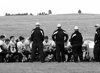 "Panthers take a knee after losing to the Kiowa Indians in the first round of the A-8 Colorado State Football Playoffs last Saturday. Second year head coach Paul Fortunato said his team ""left it all on the field"" and the ""future looks bright"" for the Rangely football program."