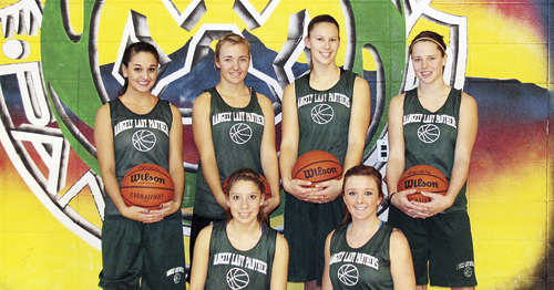 Rangely seniors Myriah Moreno, Kelsey Prosser, Quincey Thacker, Brittany Babineaux, with Leslie Hernandez and Shelby Neiberger in front, will have a first round bye and will play in the semifinal game of the White River Electric Cowboy Shootout Friday at 6 p.m. against the winner of Soroco vs. Hayden.