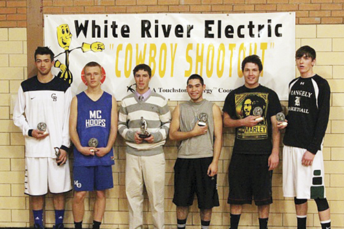 Kane Hamilton from Crested Butte, Tyler Davis of Moffat County, Connor Lee of Little Snake River, Meeker's Raul Lopez and Scott Smith and Rangely Cameron Enterline were all named to the WREA Cowboy Shootout all-tournament team. Hamilton won the Slam Dunk contest and Lee was named the tournament's MVP.