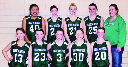 The Rangely Middle School girls' basketball teams played in Meeker last Saturday and will host Steamboat Springs this Saturday. The Rangely seventh-grade A team is currently undefeated. Playing for the eighth-grade team are (back) Mikayla Filfred, Lyndzey Thacker, Mckenzie Webber, Katye Allred and coach Whitney Torsell. (Front) Bridgette Rhea, Sydney Shaffer, Corinne Coombs, Cierra Wilson and Antoinette Dorris.