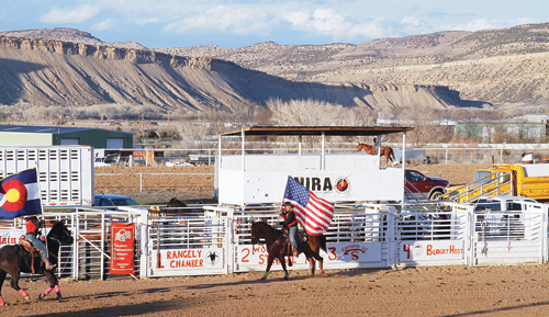 It was a beautiful spring evening on Friday in Rangely as the American flag was carried past the bucking chutes at Columbine Park for the first of two performances of the inaugural Spartan Showdown Rodeo. The rodeo drew competitors from nine colleges for the first rodeo held in Rangely in several years.