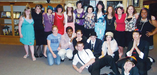 "Members of the cast and crew of ""Thoroughly Modern Millie,"" which was performed over the weekend by Meeker High School students, including: Back row, left to right: Morgan Tegeder, Shelby Burke, Brianna Holding, Maclaine Hult, Mckenna Kummer, Emily Eliasen, Nicole Hilkey, Amanda Kendall, Piper Haney, Sydney Hughes, Lily Munn and Ohana Mataia. Front row, from left to right: Taylor Ahrenos, Tala Atoafa, Aly Ridings, Lathrop Hughes, Jamie McLaughliln, Brittany Smith, Anthony Watt and Colin Keeler. Not pictured are Bruno Juarez, JC Henderson, Kim Kendall, Mary Washburn and Michael Beck."