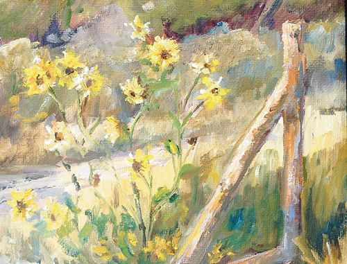 """Maym Cunningham's """"Mountain Trail"""" painting, above, won Best of Show at the Plein Air Meeker 2013 competition. Cunningham's """"Cattleguard Décor"""" captured the People's Choice Award."""