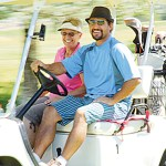 Rangely's Ellen Boudreaux and her son Ron Kelly Crawford, who lives in Meeker, were all smiles Sunday at the Meeker Golf Course, where they finished with the third best gross score in the championship flight.
