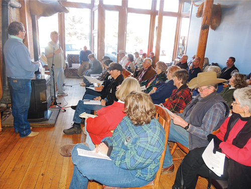 Roughly 40 people, including a few Rangely residents, attended the Citizens Forum on Economic Development held Saturday afternoon at the Meeker Hotel. Local input and input from Delta, Colo., regarding local tourism promotion were front and center at the forum. Standing far left is emcee Brian Conrado. Also standing is MACC President Gary Zellers, talking about the need for new revenue coming into Meeker.