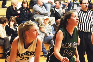 Rio Blanco County seniors Taylor Neilson of Meeker and Tessa Slagle of Rangely prepare for a rebound during a game Tuesday in Meeker.