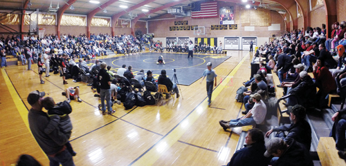 The Meeker High School wrestling team was supported by a full gymnasium Friday to watch the No. 2-ranked Cowboys wrestle the defending state champion and No. 1-ranked Paonia Eagles. Meeker lost the dual 51-17 but won the first annual Vern Rose Memorial wrestling tournament in Rangely the next day.