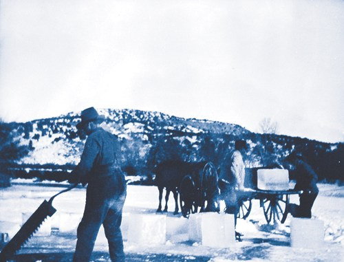 Farm and ranch crews had to wait until area ponds and lakes froze over before they could begin the arduous task of cutting blocks of ice from the frozen surface and transporting those blocks back to the farm or ranch in sufficient quantities to last through the year.