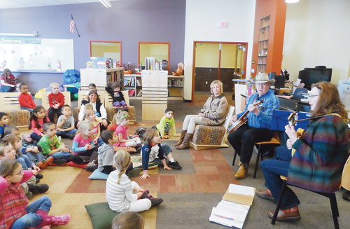 On Feb. 3, Meeker Elementary School celebrated its success with a Library Book Carnival in the gym and music/storytelling in the library. Local musicians Jean Newman, Johnny Barton and Mary Kay Kruger shared their talents playing mandolin, guitar, banjo and electric guitar. Storytellers Mandy Etheridge and Georgann Amack shared southern tales between the musical numbers.