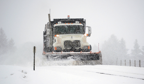 This snow plow was doing routine snow removal work last week on County Road 4, also known as Mesa Road. Besides routine maintenance, the Rio Blanco County Road and Bridge Department has several major projects on tap for the year.
