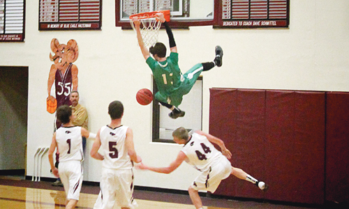 Rangely senior Cameron Enterline had a momentum-changing breakaway dunk against the Soroco Rams, but the Panthers could not hold off the Rams' comeback in the second half. Rangely will host Vail Christian on Saturday.