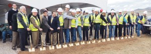 Ready to dig in with their shovels to break ground are the Pioneers Medical Center Board of Directors, architecture and construction representatives and special guests. The ground was broken Friday afternoon on the $47 million project, which is expected to be completed by July 2015.