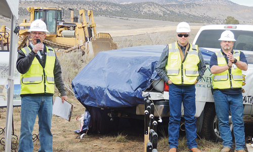 Paul Sheridan, president of the board at Pioneers Medical Center, welcomed more than 120 people to the groundbreaking ceremony Friday for the new hospital, to be built just off of Highway 13, about 2 miles north and east of Meeker.