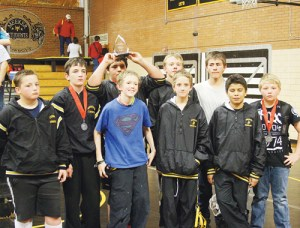 Barone Middle School wrestlers Ridge Williams, James Amick, Trapper McGruder, Miguel Lopez (holding trophy), Christopher Strate, Tucker Slaugh, Dalyon Nielsen, Luis Villalpando and Jake Shelton finished second as a team in the final school sponsored tournament. McGruder, Slaugh and Neilsen all won gold medals. Because of spring break and some wrestling in Grand Junction, not all BMS wrestlers are pictured.