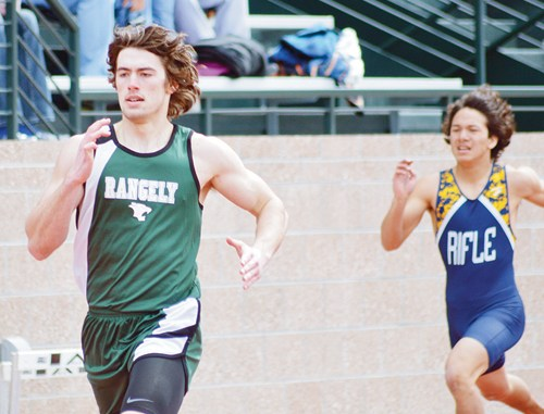 Rangely senior Connor Phelan is pictured running the 400-meter dash in Cedaredge  on Saturday. Phelan, a returning state qualifier, finished fifth in the race and will help lead the Panthers this season along with classmates Andrew Morton, Aimee Hogan and Tessa Slagle.
