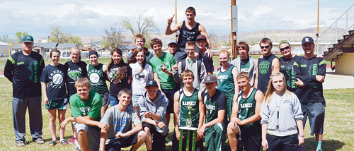 The Rangely boys' high school track team won the Panther Invitational track meet for a third year in a row. Competing on Yeager Field in back are juniors; James Scoggins, Colt Allred, Mitchell Webber, with senior Connor Phelan on his sholders. In the middle are, Coach Boydstun, freshman Corrine Coombs and Antoinette Doris, seniors Aimee Hogan, Tessa Slagle, Rebecca Gillard, Andrew Morton, junior Marshal Way, freshman Savannah Nielsen, junior Zach Glasgow, sophomore Daniel Connor, Coach Kahler and Coach Brunton. Bottom row; Chance Sheppard, sophomore, freshmen Braxton Bishop, Anthony Martin, Troy Allred, Korey Hood, Ethan Allred (sophomore), and Macenzie Webber.