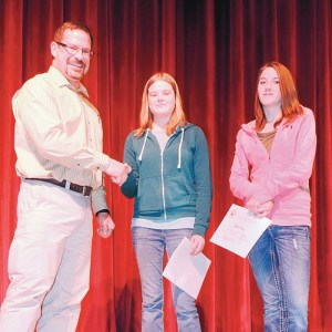 The White River Electric Association Youth Leadership scholarships were awarded May 8 to Meeker High School seniors Faith Patterson and Taylor Frantz. They were presented by Anthony Mazzola to the students during the annual awards assembly at Meeker High School, and both Patterson and Frantz received more than one award at the assembly.