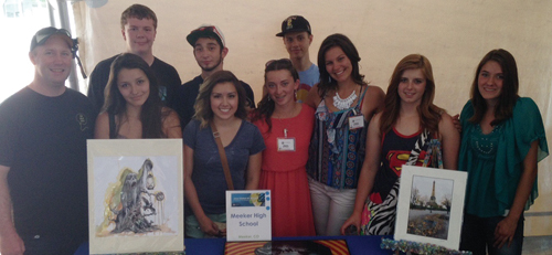 Several Meeker High School students traveled to the Cherry Creek Art Festival and Denver Art Museum on July 5-6. They were invited to the festival to participate in the Janus Student Art Buying Program. Nishiko Thelen, Dominick Cardile and Paige Jones were representatives from MHS. Twenty-four programs in Colorado were selected to participate in program, and MHS was one of two high-school-level programs and the only Western Slope school to participate. According to MHS art teacher Ben Quinn, the MHS students had the unique opportunity to go from being spectators to patrons as the Janus Foundation gave our students $500 to select work they felt represented the interests of MHS students. The works will be displayed at various buildings around the Meeker School District. The students were to interact, ask questions and examine work of well-known artists from across the nation. In the back row, from left, are: MHS art teacher Ben Quinn, Layton Bair, Sammy Palmer and Doninick Cardile. In the front row, from left, are: Amanda Begaye, Linda Olivas, Nishiko Thelen, Paige Jones, Maegan McGruder and Taylor Frantz.
