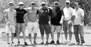 """It was a fun field,"" 2014 Lischke champion Bobby Castaldo said of the six other players in the championship flight of the two-day, stroke-play tournament. Pictured from left, the field included high school players Marshal Way of Rangely and Nick Burri of Meeker, Castaldo, Kyle Frary, Larin Crase, Bill deVergie and Pat Walsh."