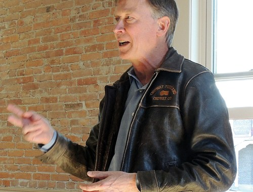 Gov. John Hickenlooper made an hour-long stop in Meeker on Oct. 10 at Mountain Valley Bank before heading to see the new Pioneers Medical Center and continue his state tour. The bank's meeting room had a standing-room-only crowd of Republicans and Democrats from both sides of the county as Hickenlooper answered audience questions regarding the energy industry in Northwestern Colorado, economic and business growth in Colorado—recently pegged as having the No. 1 growing economy in the nation, how the state was the first ever to have to cope with 13 major disasters from floods to fires in just one year, how Colorado is being watched for its ability to get energy, environment and government groups together to work out an energy policy that pleases all sides, and state health issues, including how the state abortion rate has been cut by 40 percent and teen pregnancy is down 35 percent.
